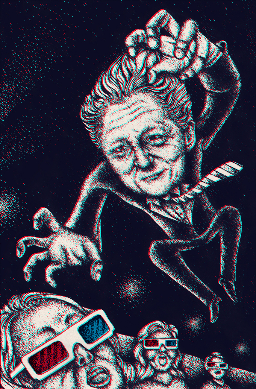 Bill Clinton Jumps Creepily at a movie.  Illustrated poster in pointilism style